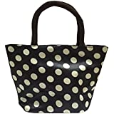 Large , Black-white-dot : Moolecole Waterproof Picnic Lunch Bag Tote Bag Travel Grocery Bags With Zipper Organizer...