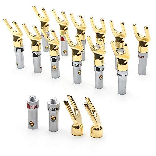 Ochoos U-Type Stecker Nakamichi Lautsprecher Bananenstecker Messing Gold Stecker & Silber Shell 8 Stück Lautsprecher Stecker Audio Schraube Gabel Stecker Adapter