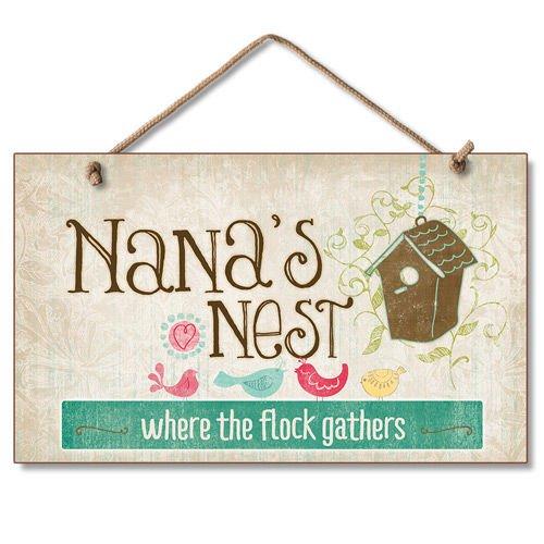 Highland Graphics Shabby Country Nana 's Nest Schild Floral Vogel Wand Decor Plaque Highland Graphics