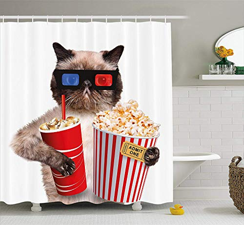 JIEKEIO Movie Theater Decor Shower Curtain, Cat with Popcorn and Drink Watching Movie Glasses Entertainment Cinema, Fabric Bathroom Decor Set with Hooks,60 * 72inch, Multicolor