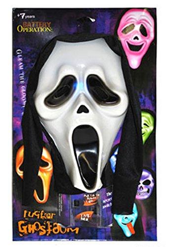 Faschingsfete Halloween Dekoration - Maske Scream mit Beleuchtung LED- Grusel Horror, Mehrfarbig