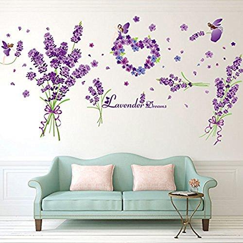 Große langer Stiel Lavendel Blumen Romantische Abnehmbare Vinyl Wand Aufkleber für Kinder Rom Dekoration, Mushroom Jungle, Large (Große Aufkleber Lavendel)