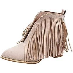Rawdah Botas Mujer Invierno Zapatos de Mujer de Moda Botines de Moda con Flecos de Flecos sólidos Botines Cortos de Martin Bootie Zapatos Mujer Plataforma