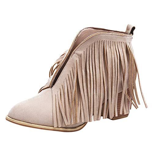 Stiefel Damen, LANSKIRT Trendige Frauen Stiefeletten Ankle Boots Schuhe Knöchel feste Fransen Stiefel Quaste Bootie Kurze Stiefel