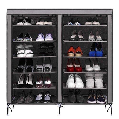 Schuhregal, Tomasa Schuhschrank - Doppelreihig aus Metall mit Deckel 6 Schichten 12 Gitter 4 Taschen
