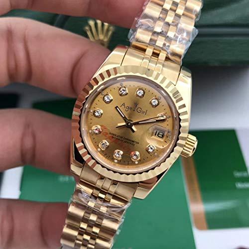 DMSGBZL Uhren Neue Edelstahl-Saphir-Uhr-Frauen-Dame Automatic Mechanical Diamond Silver Gold Black White 26mm volles Gold