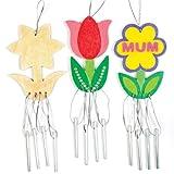 """Windspiel-Bastelsets """"Frühlingsblume"""" aus Holz – Windspiel-Bastelset für Kinder zum Gestalten, Basteln und Dekorieren (4 Stück)"""