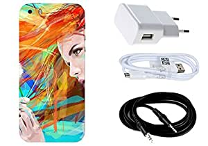 Spygen Apple Iphone 5/5S Case Combo of Premium Quality Designer Printed 3D Lightweight Slim Matte Finish Hard Case Back Cover + Charger Adapter + High Speed Data Cable + Premium Quality Aux