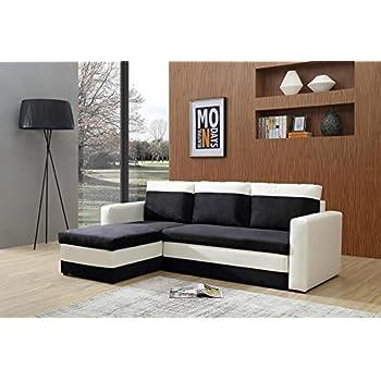 Bestmobilier OREGON - Canapé d angle réversible convertible - 223x145 x 81cm - Blanc/Noir