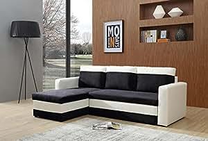 Bestmobilier - OREGON - Canapé d angle réversible convertible - 223x145 x81cm - Blanc/Noir