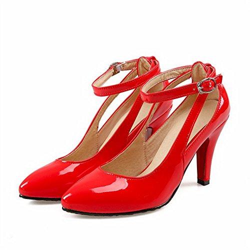 VogueZone009 Femme Couleur Unie Pu Cuir à Talon Haut Pointu Boucle Chaussures Légeres Rouge