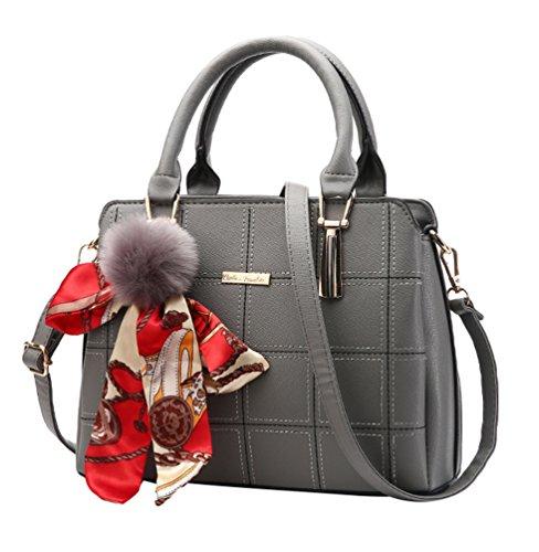 Baymate Elegant Handtaschen Mode-Strasse Damentaschen Schuletaschen Umhängetasche Dunkel Grau