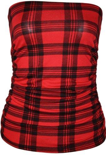 WearAll - Animal aztèque imprimé bustier bandeau top ruché sans bretelles - Hauts - Femmes - Tailles 36 à 42 Rouge Tartan