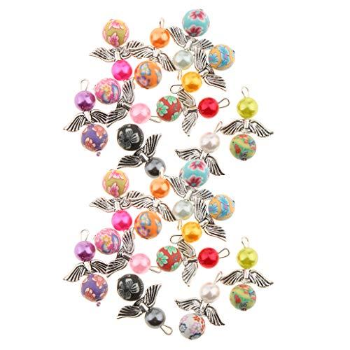 IPOTCH 20 Stücke Acryl Perlen Anhänger mit Schmetterlinge Flügel Perlenengel Charms DIY Basteln Set für Halskette Kinderschmuck Handwerk - Perlen-anhänger