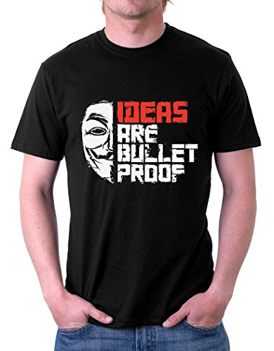 The Souled Store IDEAS ARE BULLETPROOF (XX-Large) Movie Printed Premium BLACK Cotton T-shirt for Men Women and Girls