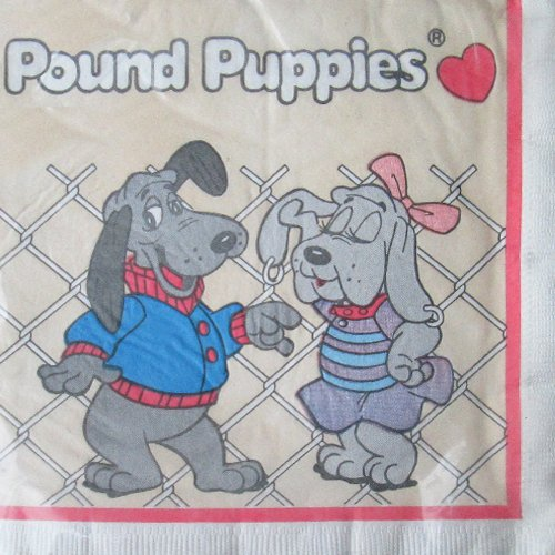 pound-puppies-vintage-1986-lunch-napkins-16ct