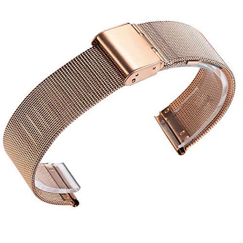 FeiliandaJJ Leder Ersatzarmbänder für Samsung Gear Fit2/Fit 2 Pro Straps SM-R360/SM-R365 Watch,Luxus mit Metallschnalle Sport Smart Watch Zubehör Uhrenarmbänder Armbänder Watch Band (Rose Gold) -