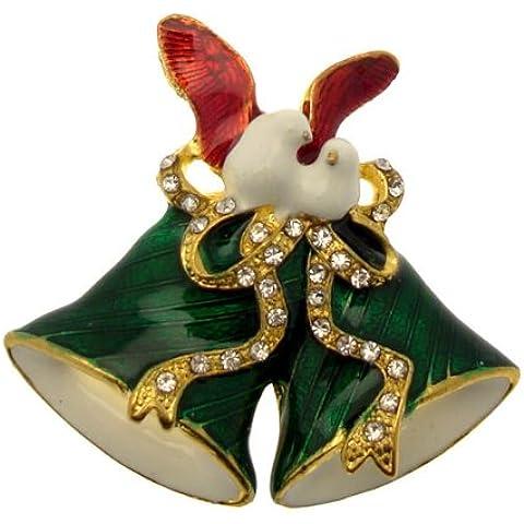 Acosta broches - verde festivo esmalte y cristal - Campana de Navidad con broche de la paloma (de oro) - caja de regalo