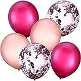30 Stück 12 Zoll Latex Ballons Konfetti Ballons für Hochzeit Mädchen Baby Dusche Party Dekoration (Weinrot und Rosagold)