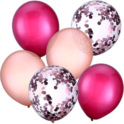 tex Ballons Konfetti Ballons für Hochzeit Mädchen Baby Dusche Party Dekoration (Weinrot und Rosagold) ()