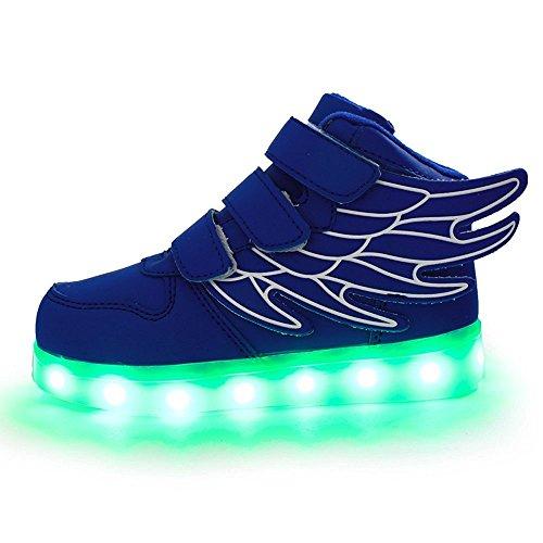Aidonger Unisexe Enfant Baskets Lumineuses Chaussures de Sport Clignotantes avec 7 Couleurs LED Colorés USB rechargeable Style d'ailes d'ange pour Fille Garçon bleu