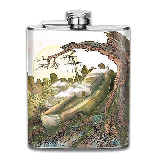 Presock Fiaschette,Stainless Steel Hip Flask 7 Oz (No Funnel) A Stranded Ship Full Printed
