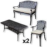 Lazy Susan - Mesa de centro rectangular de jardín CLAIRE, 1 banco ROSE y 2 sillas a juego - Muebles en fundición de aluminio, color Bronce Antiguo (cojín beige)