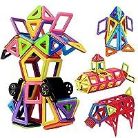 مكعبات مغناطيسية من انو تيك، مكونة من 76 قطعة + 1 قطعة ألعاب للأطفال، ألعاب مكعبات بناء تعليمية، من بلاستيك ايه بي اس الآمن، تتضمن كتيب تعليمات، ألعاب بناء مغناطيسية للأطفال الرضع والأطفال، مقاس كبير