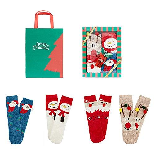 Comfysail Packung 4 Paar Weihnachten Unisex Verdickung Socken Geschenkbox Kuschelige Eltern-Kind Strümpfe Warme Socken für Erwachsene und Kinder