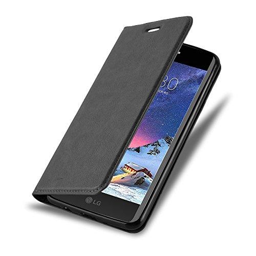 Cadorabo Hülle für LG K8 2017 - Hülle in Nacht SCHWARZ – Handyhülle mit Magnetverschluss, Standfunktion und Kartenfach - Case Cover Schutzhülle Etui Tasche Book Klapp Style