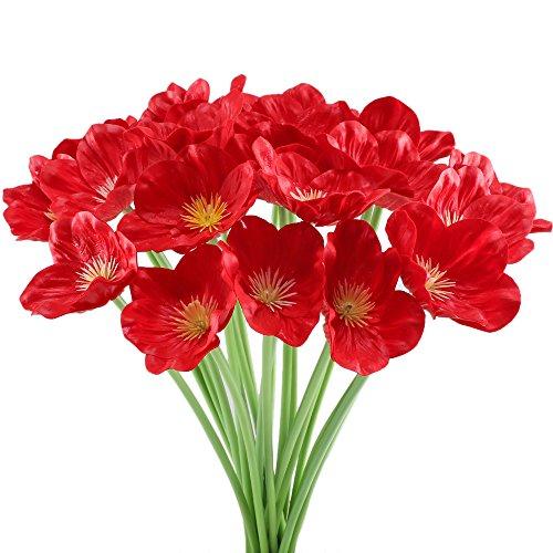 Huaesin 20pcs fiori finti per decorazioni fiori artificiali papavero bouquet fiori artificiali da esterno interno casa soggiorno matrimonio balcone vaso giardino(rosso)