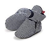 EDOTON Unisex Neugeborenes Schneestiefel Weiche Sohlen Streifen Bootie Kleinkind Stiefel Niedlich Stiefel Socke Einstellbar (0-6 Monate, Schwarzer Streifen)