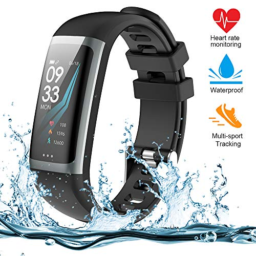 Montre Connectée Cardio, Bracelet Connecté Podomètre Marche Smart Bracelet Tracker d'activité, Calcul Calories Brûlées, Moniteur de Sommeil, Distance, Montre de Sport pour Femme Homme Enfant (G26-B)