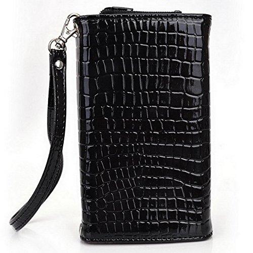 Kroo Croco Étui portefeuille universel pour smartphone avec bracelet pour Xolo A510s/A500Club Mobile noir - noir noir - noir