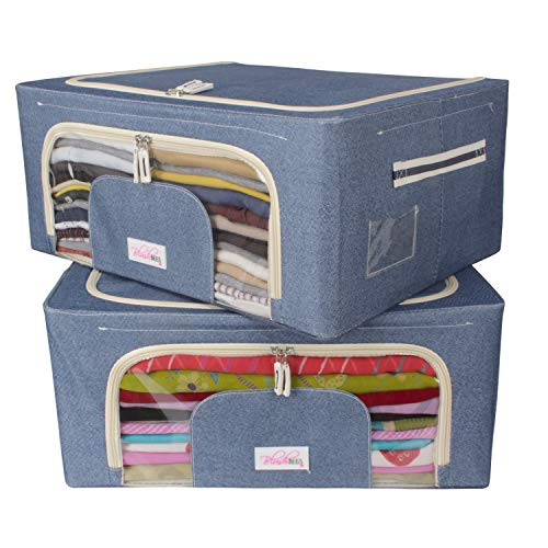 BlushBees® Living Box - Closet Organizer Cloth Storage Boxes for Wardrobe - 44 Litre, Pack of 2, Cowboy Blue