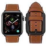MroTech kompatibel für Apple Watch Armband 42mm und 44mm Leder braun Uhrenarmband mit Schwarzer Verschluss, Lederarmband iWatch Ersatzarmband für Apple Watch Serie 1 2 3 4, (42 mm / 44mm, Braun)