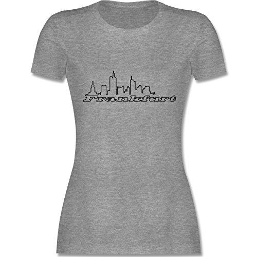 Skyline - Frankfurt Skyline - tailliertes Premium T-Shirt mit  Rundhalsausschnitt für Damen Grau Meliert