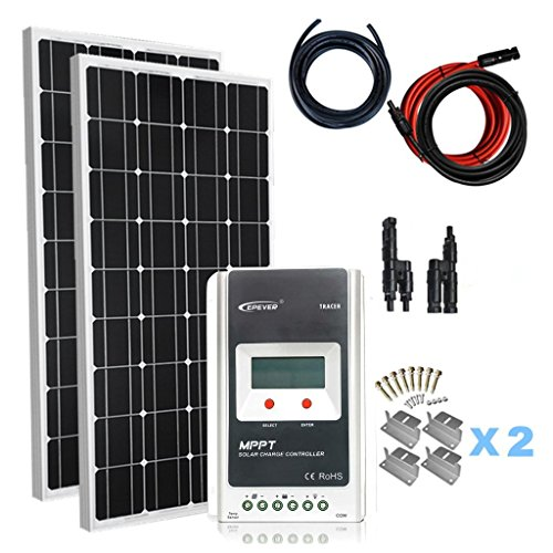 Giosolar Solaranlage 200 Watt (2X100W) Solaranlage Basic-Starter 12V - Solar Bausatz mit Modul,...