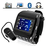 Handyuhr mit Dual SIM Kamera Touchscreen /Tastatur /MP3/MP4 UND MIT Bluetooth Wireless Headset Für Watch Phone,Schwarz