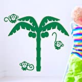 IDEAVINILO - vinilo decorativo infantil: Palmera con tres monitos y cocos. Medidas: 105x95 cm