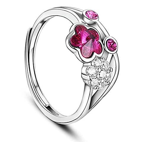 Sweetiee Woman 925 Sterling Silver Finger Ring Rose Red Zirconia