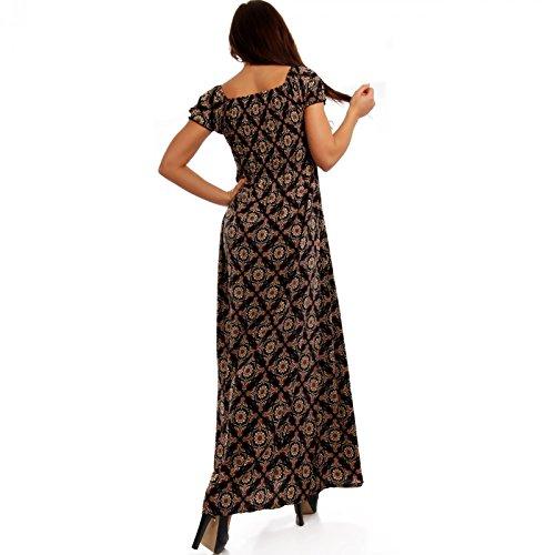Damen Maxikleid Kleid Carmen Ausschnitt Kleid Lang Mehrfarbig/Model3
