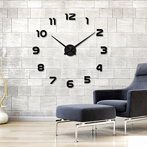 Ailier® DIY Wanduhr Moderne Groß Schwarz Schlafzimmer 3D Acryl Spiegel Wall Clock Mirror Surface Stickers Home Decoration Wanduhren (Durchmesser:70-100 cm, M015-Silber) (Silber-015, M) (Schwarz-L-002) Große Schwarze Wanduhr