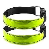 kwmobile 2X LED Leucht Armband - XL Sicherheitsband für Outdoor Sport Joggen Hundehalsband helles Blinklicht reflektierend bei Dunkelheit