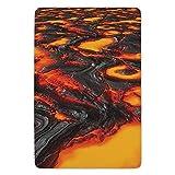 Bathroom Bath Rug Kitchen Floor Mat Carpet,Volcano,Large Molten Lava Vibrant Colored Hot Flowing Magma Image Cracked Burning Earth Decorative,Orange Yellow,Flannel Microfiber Non-slip Soft Absorbent