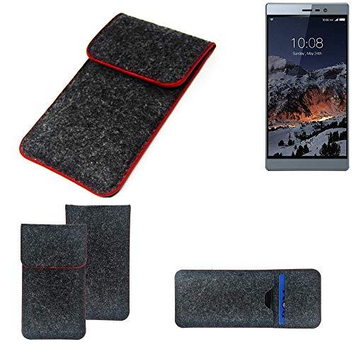 K-S-Trade® Filz Schutz Hülle Für -Switel ESmart M3- Schutzhülle Filztasche Pouch Tasche Case Sleeve Handyhülle Filzhülle Dunkelgrau Roter Rand