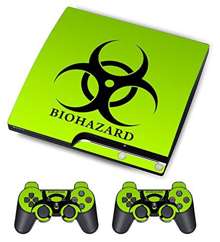 TQS™ Piel Diseñador para Sony PS3 Slim consola del sistema más dos (2) Adhesivos para: PS3 DUALSHOCK controlador - Biological harzard