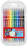 Stabilo Trio 2-in-1 Felt-tip Pen Wallet - Assorted Colours, Pack of 10