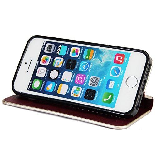 Custodia iPhone 5S, iPhone SE Flip Case Leather, SainCat Custodia in Pelle Cover per iPhone 5/5S/SE, Anti-Scratch Book Style Protettiva Caso PU Leather Flip Portafoglio Custodia Libro Protettiva Custo Borgogna
