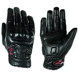 A-Pro Guanti in pelle, protezione nocche, per l'estate, per Racing motocross Quad MX, Nero, M